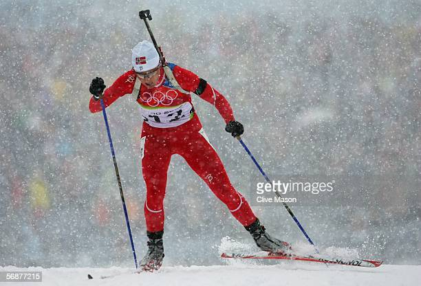 Grete Liv Poiree of Norway competes in the Womens Biathlon 10km Pursuit Final on Day 8 of the 2006 Turin Winter Olympic Games on February 18 2006 in...