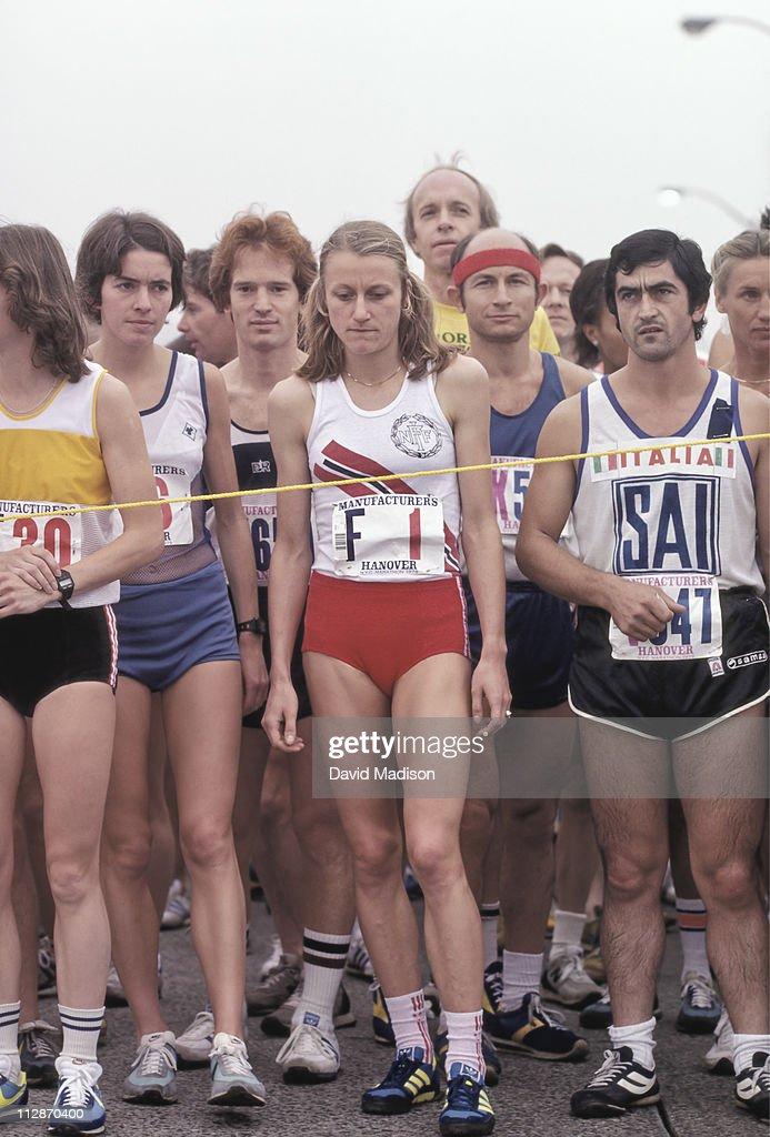 Grete Waitz #F1 of Norway stands at the starting line on the Verrazzano Bridge of the 1979 New York Marathon run on October 21, 1979 in New York, New York. Waitz won the New York City marathon nine times in her career.