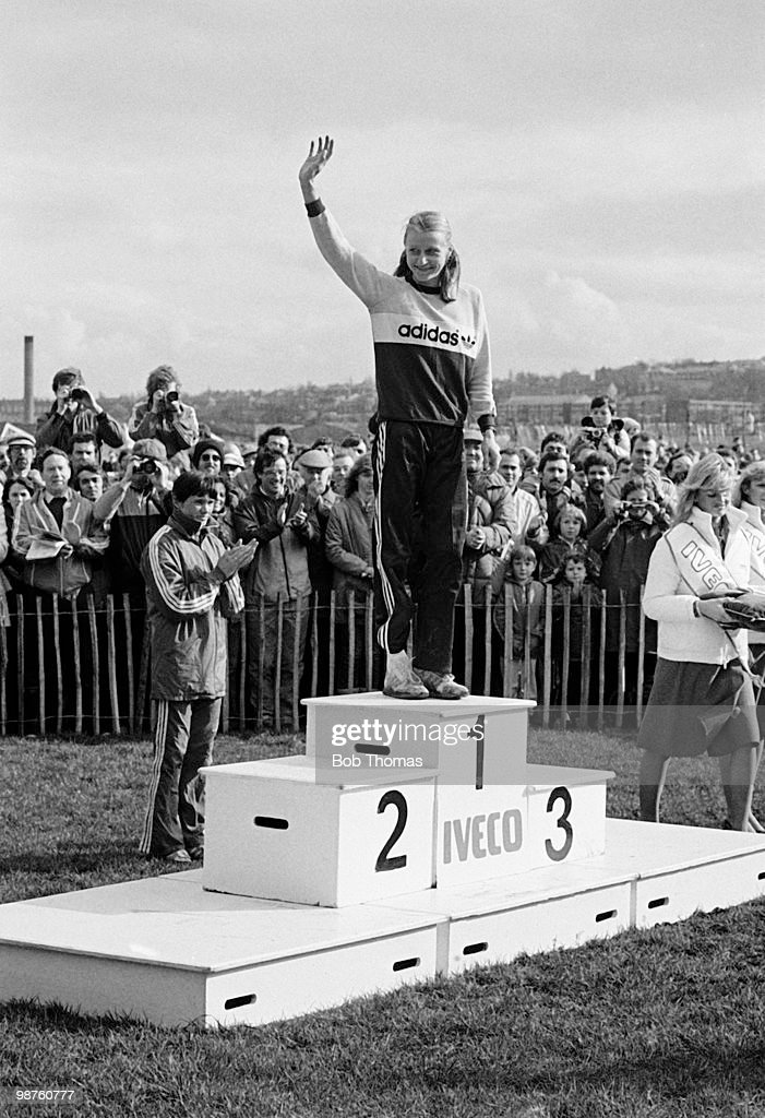 Grete Waitz of Norway, winner of the Women's IAAF World Cross Country Championships held at Gateshead, England on 20th March 1983. (Bob Thomas/Getty Images).