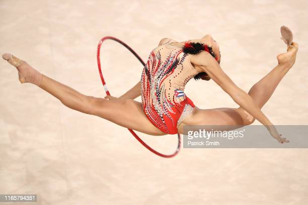 Gretel Mendoza of Cuba competes during rhythmic gymnastics Individual All Around and Qualifications Hoop on Day 7 of Lima 2019 Pan American Games at...