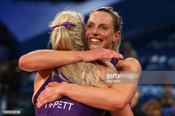 Gretel Tippett and Laura Geitz of the Firebirds celebrate winning the round 12 Super Netball match between the Fever and the Firebirds at Perth Arena...