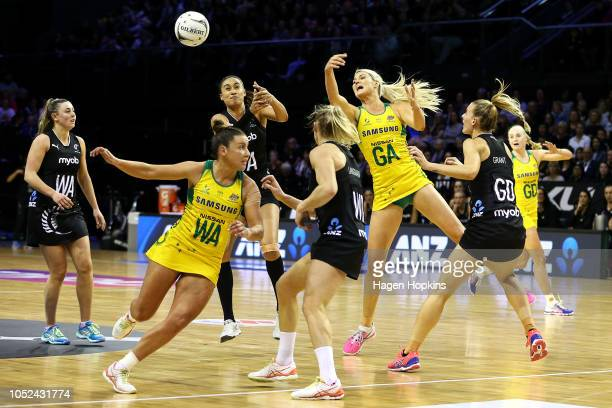 Gretel Tippett of Australia and Maria Folau of New Zealand compete for the ball during the International Test and Constellation Cup match between the...