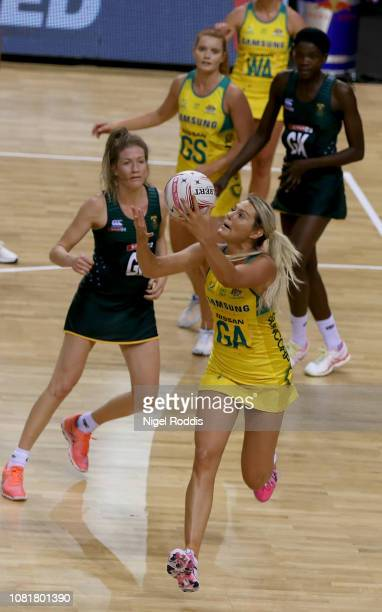 Gretel Tippett of Australia during the Vitality Netball International Series match between South Africa and Australian Diamonds as part of the...