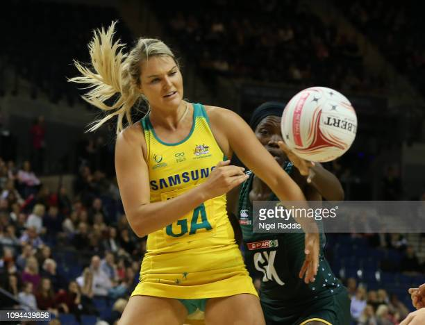 Gretel Tippett of Australia in action during the Vitality Netball International Series match between South Africa and Australian Diamonds as part of...