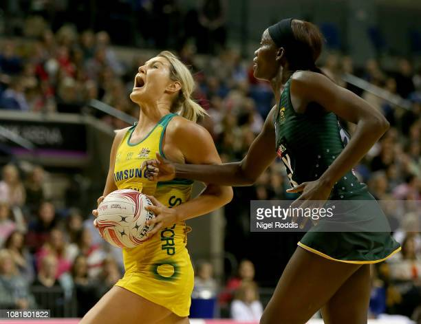 Gretel Tippett of Australia in action with Courtney Bruce of South Africa during the Vitality Netball International Series match between South Africa...