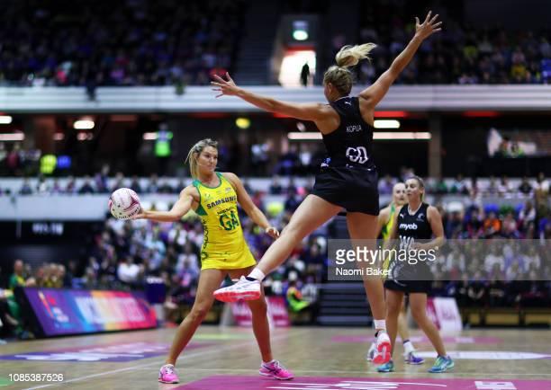 Gretel Tippett of Australia passes the ball during the Vitality Netball International Series match between Australian Diamonds and New Zealand as...