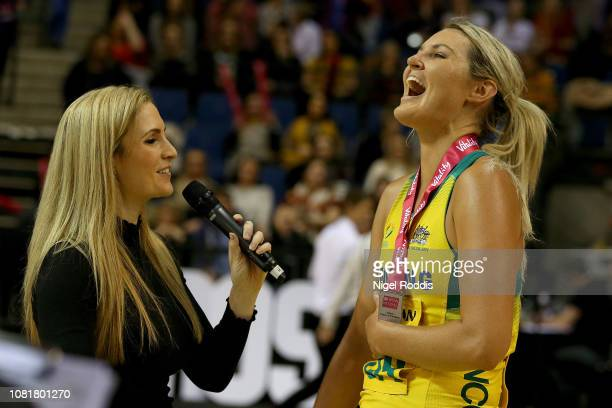 Gretel Tippett of Australia with her MVP award being interviewed for tv during the Vitality Netball International Series match between South Africa...