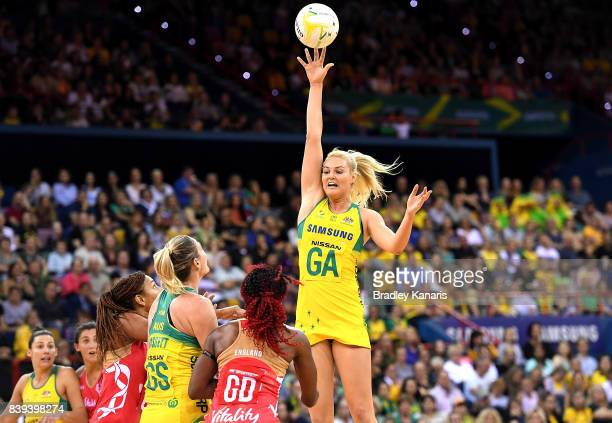 Gretel Tippett of the Diamonds passes the ball during the 2017 Netball Quad Series match between the Australian Diamonds and the England Roses at...