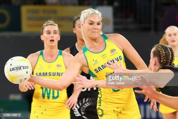 Gretel Tippett of the Diamonds ppasses the ball during the Quad Series International Test match between the Australian Diamonds and the New Zealand...