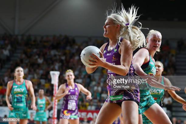 Gretel Tippett of the Firebirds catches during the round 10 Super Netball match between the Firebirds and the Vixens at Gold Coast Sports and Leisure...