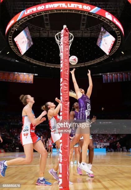 Gretel Tippett of the Firebirds shoots during the round 14 Super Netball match between the Swifts and the Firebirds at Qudos Bank Arena on May 27...