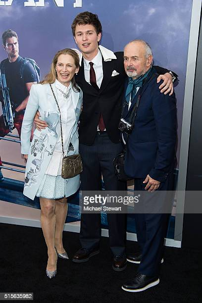Grethe Barrett Holby actor Ansel Elgort and Arthur Elgort attend the Allegiant New York premiere at AMC Lincoln Square Theater on March 14 2016 in...