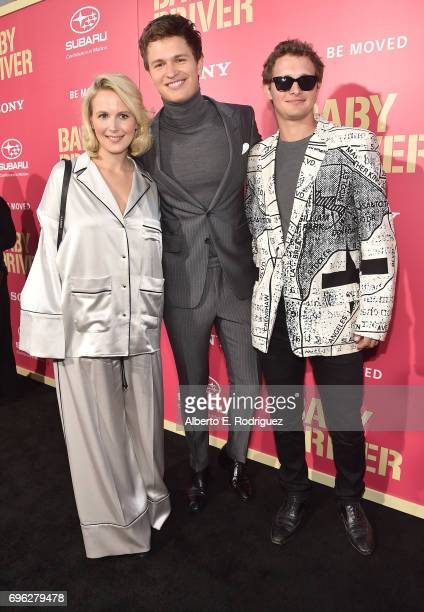 Grethe Barrett Holby actor Ansel Elgort and Warren Elgort attend the premiere of Sony Pictures' 'Baby Driver' at Ace Hotel on June 14 2017 in Los...
