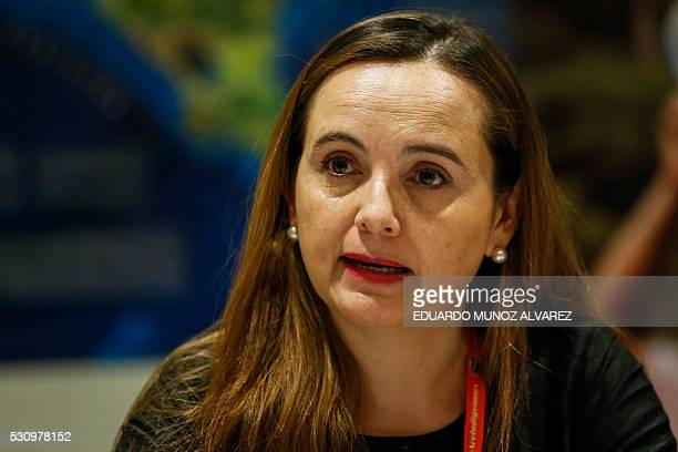 Grethel Aguilar Regional Director of International Union for Conservation of Nature speaks to guests during a press conference about the new high...