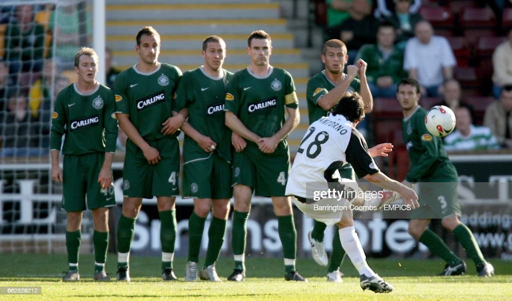 Gretna's Fabian Yantorno scores with this free-kick against Celtic News Photo - Getty Images