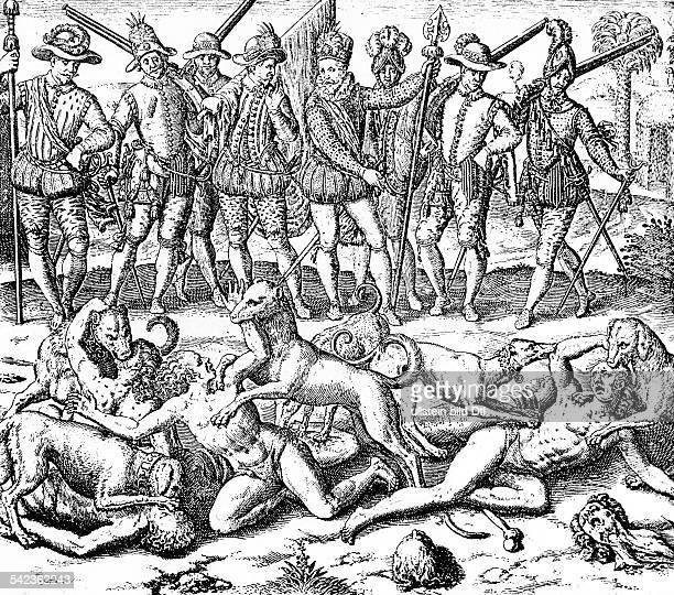Greueltaten der Spanier in Südamerika Vasco Nunez de Balboa lässt Indianer die der Sodomiterei überführt sind von Hunden zerreissen Diaguita Panama...