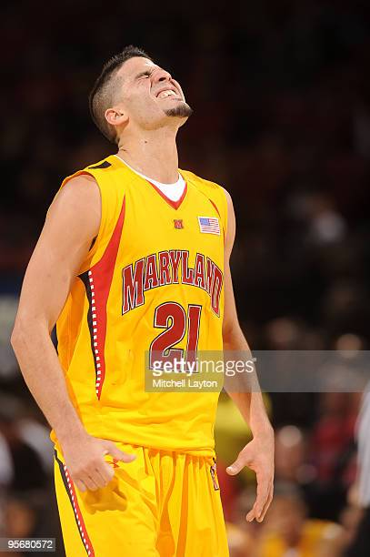 Grevis Vasquez of the Maryland Terrapins celebrates a win after a college basketball game against the Florida State Seminoles on January 10 2010 at...