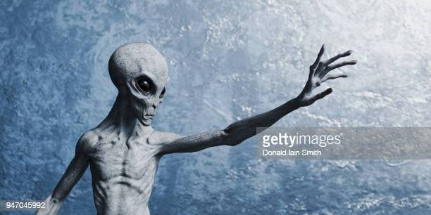 grey alien reaching out with hand - außerirdischer stock-fotos und bilder