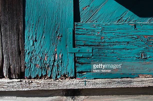 Grey and teal blue old barn detail
