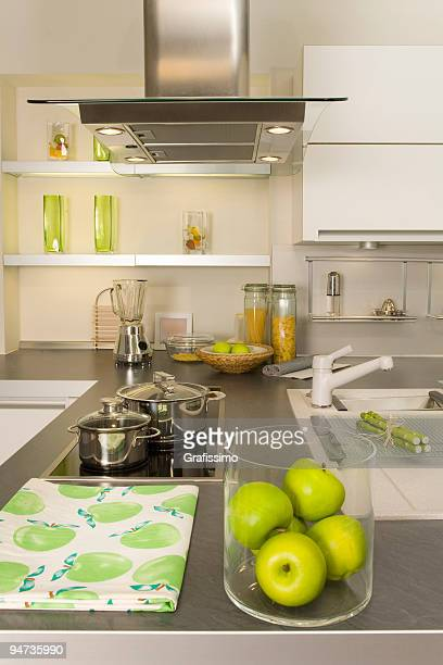 grey and white modern kitchen - kitchen utensil stock pictures, royalty-free photos & images