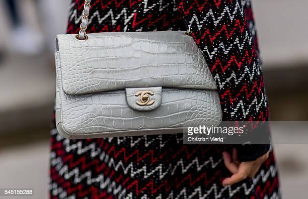 A grey Chanel bag outside Chanel during Paris Fashion Week Haute Couture F/W 2016/2017 on July 5 2016 in Paris France