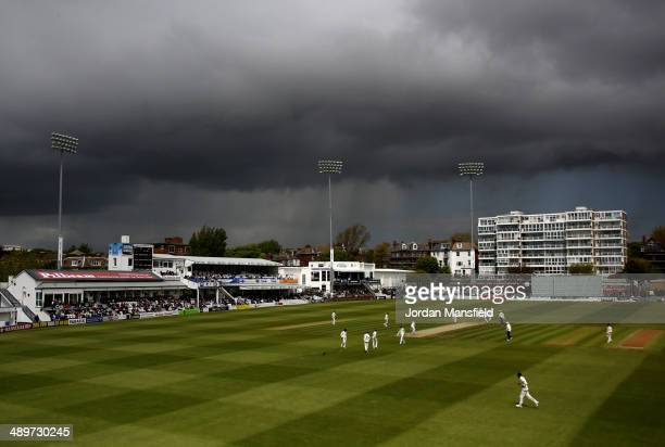 Grey clouds loom threateningly over the ground during day two of the LV County Championship match between Sussex and Durham at...