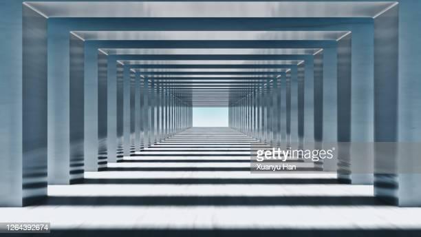 grey empty futuristic corridor - flach stock-fotos und bilder