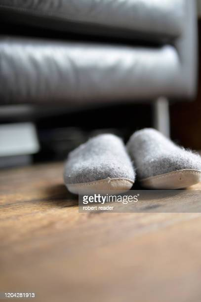grey felt slippers - slipper stock pictures, royalty-free photos & images