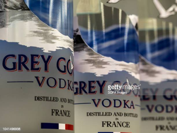 Grey Goose brand vodka seen on the store shelf. Produced in France and sold it in 2004 to Bacardi.