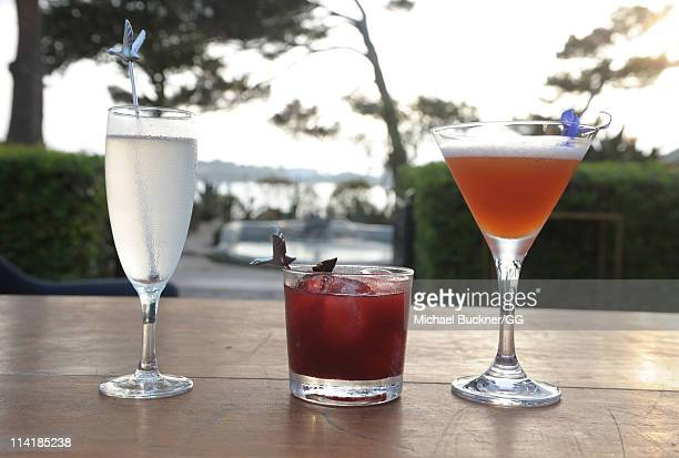 Grey Goose cocktails are displayed at the CAA Party with Grey Goose at Soho House Cannes in celebration of the 64th Annual Cannes Film Festival at...