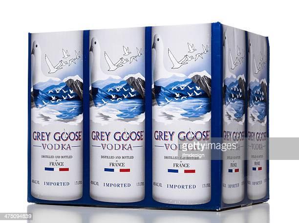 灰色グレーグースウォッカのボトルボックス - グレイグース ストックフォトと画像
