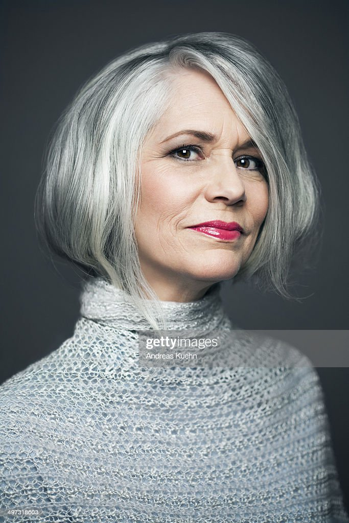 Grey haired lady with red lipstick, portrait. : Stock Photo