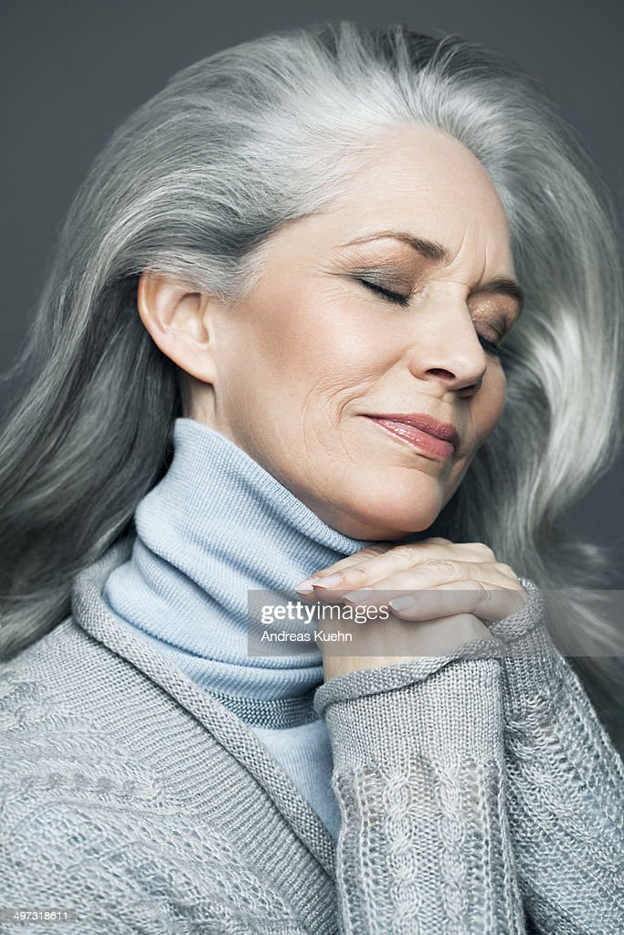 is gray hair in style grey haired with smiling stock photo 3753