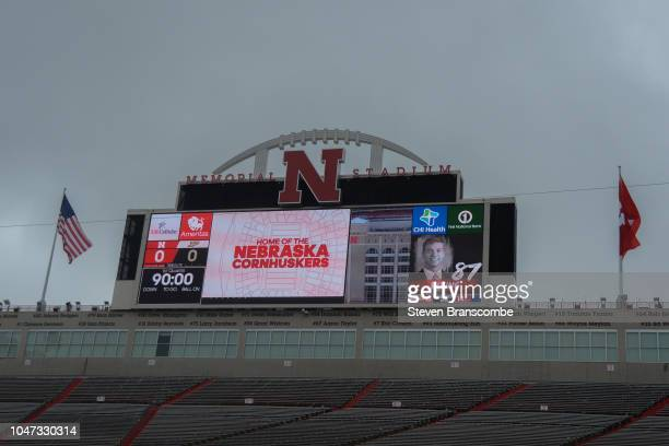 Grey skies await the teams before the game between the Nebraska Cornhuskers and the Purdue Boilermakers at Memorial Stadium on September 29 2018 in...