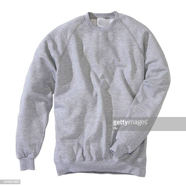 grey sweatshirt on white background - long sleeved stock photos and pictures
