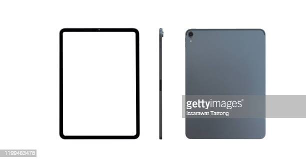 grey tablet. transparent screen isolated. front and side display view - tablette photos et images de collection