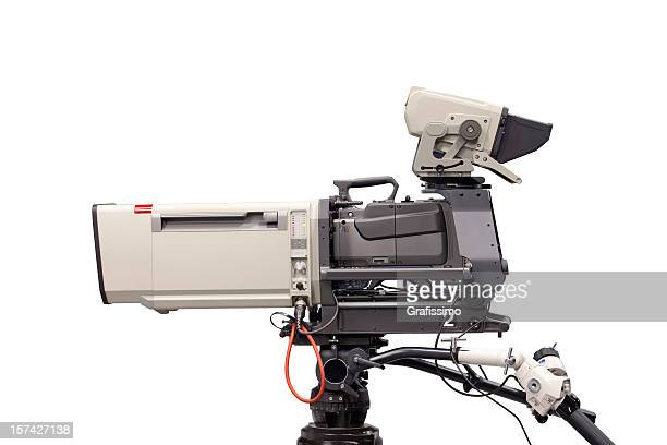 grey television camera isolated on white - television camera stock pictures, royalty-free photos & images