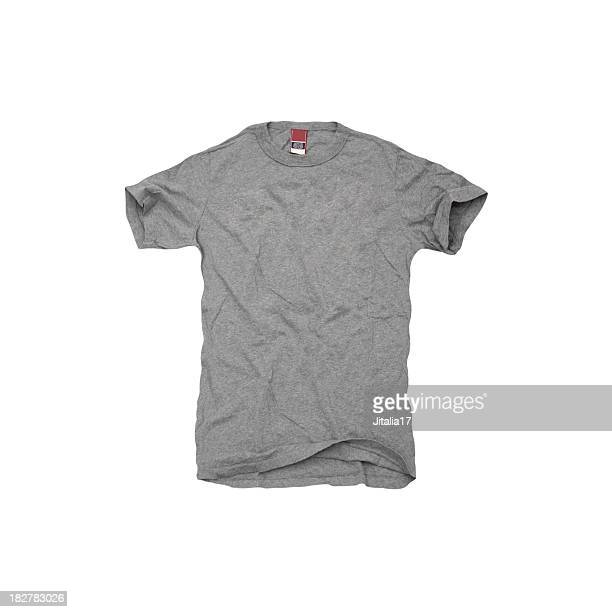 a grey t-shirt on white background - grey colour stock pictures, royalty-free photos & images