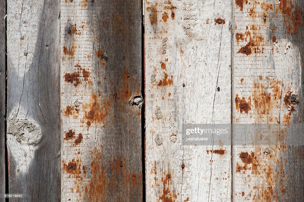 Grey wood  old gringe planks background with rusty nail : Foto stock