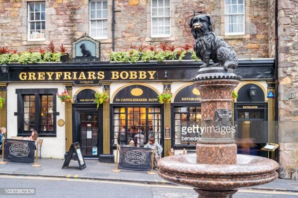 statue von greyfriars bobby und pub in der innenstadt von edinburgh schottland uk - edinburgh stock-fotos und bilder