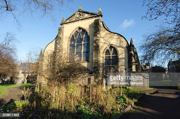 greyfriars kirk rear, edinburgh, scotland - presbyterianisme stockfoto's en -beelden