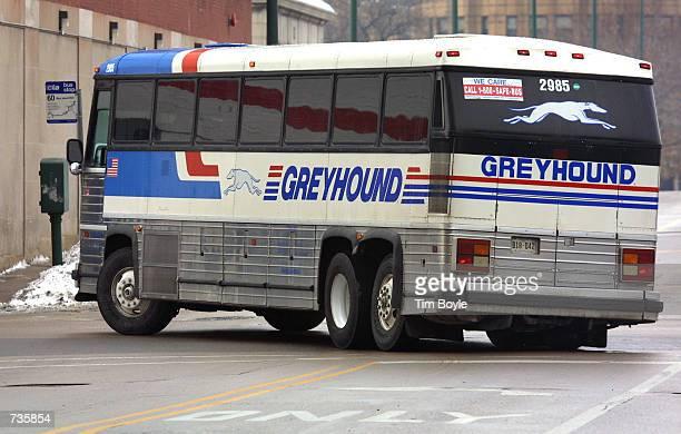 Greyhound bus departs its Chicago terminal Jan 4 2001