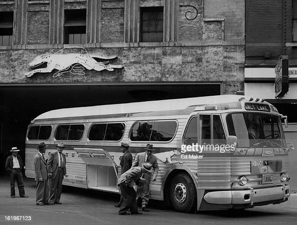 JUN 1 1953 JUN 3 1953 Greyhound bus lines Bystanders study the new $35000 bus on display at the Greyhound terminal The bus uses air bellows instead...