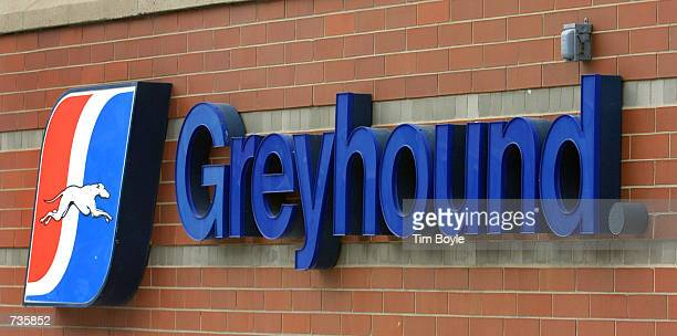 Greyhound bus sign is visible outside its Chicago terminal January 4 2001