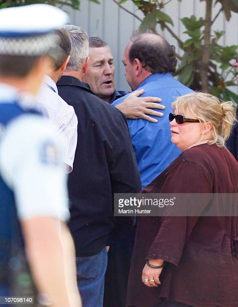 Greymouth District Council Mayor Tony Kokshoorn and CEO of Pike River Coal Mine Peter Whittall embrace on November 24 2010 in Greymouth New Zealand...