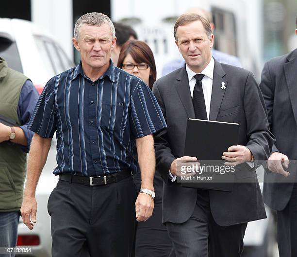 Greymouth Mayor Tony Kokshoorn and New Zealand Prime Minister John Key meet with families of the lost miners on November 25 2010 in Greymouth New...