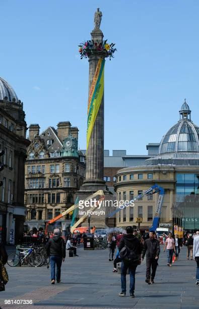 Grey's Monument in central Newcastle is transformed into an art form called The Worlkers Maypole by Neil Bromwich and Zoe Walker on the launch day of...
