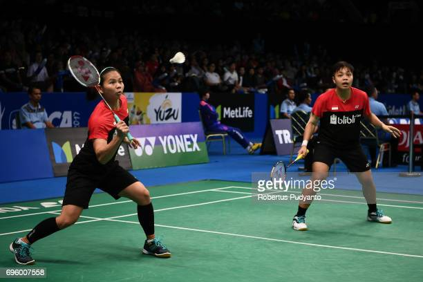 Greysia Polii and Apriyani Rahayu of Indonesia compete against Chae Yoo Jung and Kim So Yeong of Korea during Womens Double Round 2 match of the BCA...