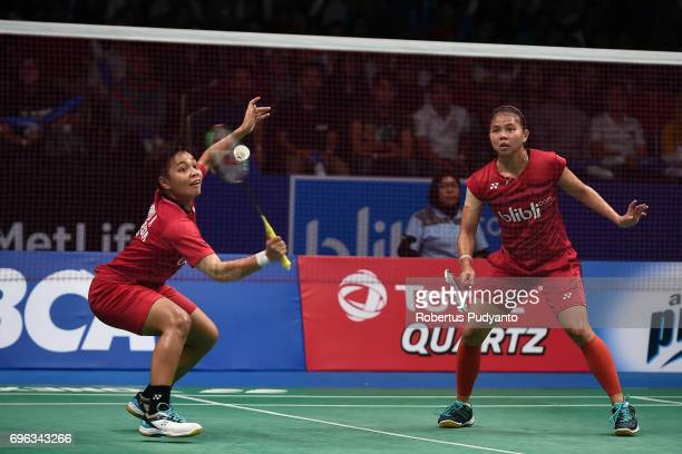 Greysia Polii and Apriyani Rahayu of Indonesia compete against Chang Ye Na and Lee So Hee of Korea during Womens Double Round 2 match of the BCA...