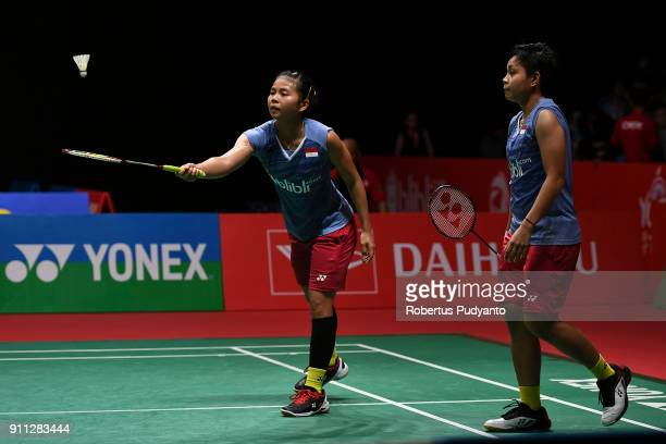 Greysia Polii and Apriyani Rahayu of Indonesia compete against Misaki Matsutomo and Ayaka Takahashi of Japan during the Women's Doubles Finals match...
